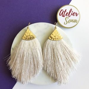 Fringe Fan Tassel Earrings - Cream